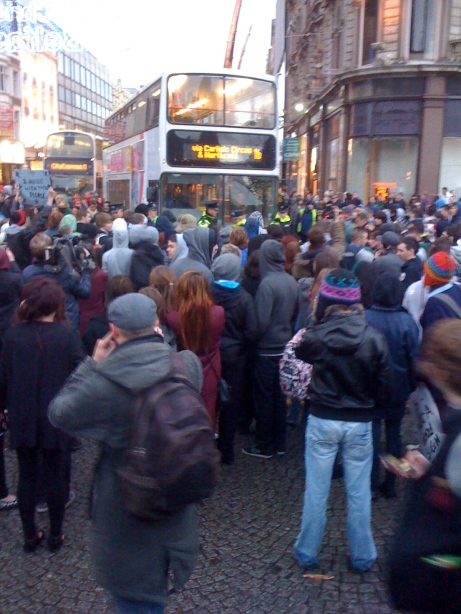 Protestors and police clash as Translink Metro is broad to standstill during Protest on Tuition Fees. Pic © 2010 Michael Carchrie Campbell